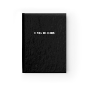 Genius Thoughts Motivational Quote Black Hardcover Ruled Notebook by Sincerely, Not