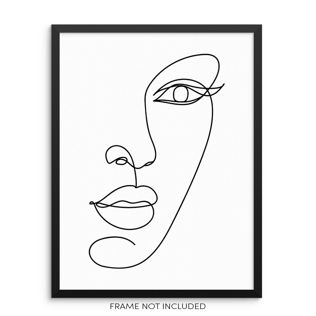 Minimalist Line Drawing Woman's Face Abstract Art Print
