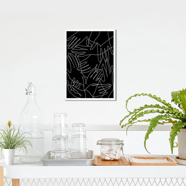 Modern Abstract One Line Hands Pattern Black and White Wall Decor Art Print Poster by Sincerely, Not