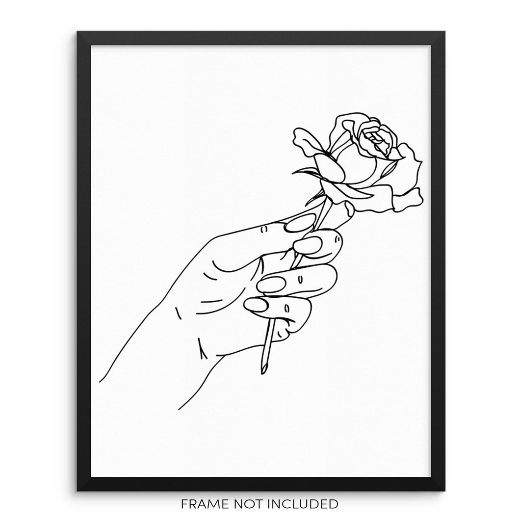 Minimalist One Line Art Print Abstract Hand Holding Rose Poster