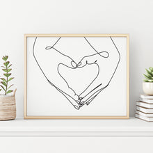 Couple Holding Heart Shape Hands Modern Abstract Black and White Wall Decor Art Print Poster by Sincerely, Not
