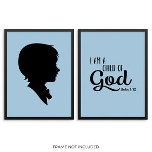 I Am a Child of God John 1:12 Psalm Boys Bedroom Art Print Set