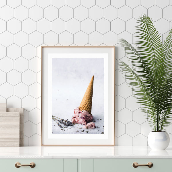 Sweet Ice Cream Cone Picture Wall Art Print