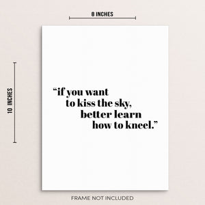 Inspirational U2 Song Lyrics Art Print If You Want to Kiss the Sky