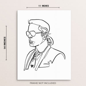 Abstract One Line Karl Lagerfeld Wall Decor Fashion Art Print