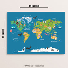 Kids World Map and Animals Art Print Children's Educational Poster