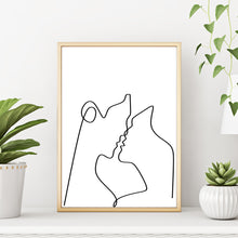One Line Abstract Faces Wall Art - Kissing Couple Silhouette