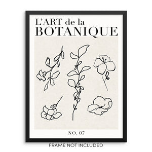 One Line Botanical Art Print L'Art De La Botanique Flowers Poster