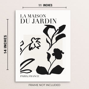 "Sincerely, Not One Line Botanical Art Print La Maison Du Jardin Abstract Flowers Poster 11""x14"" UNFRAMED"