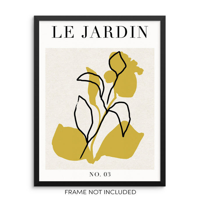 One Line Botanical Art Print Le Jardin Abstract Flowers Poster