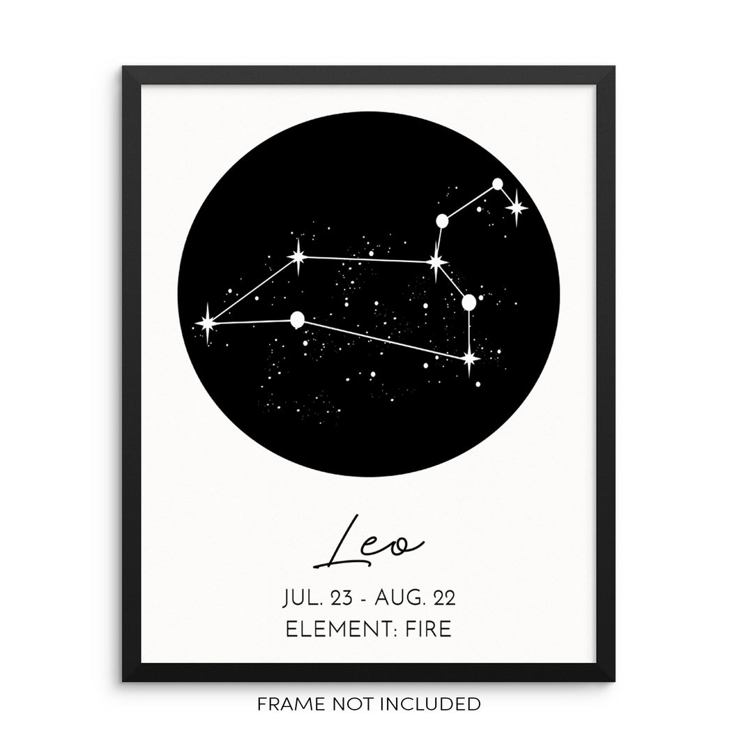 LEO Constellation Art Print Astrological Zodiac Sign Wall Poster by Sincerely, Not