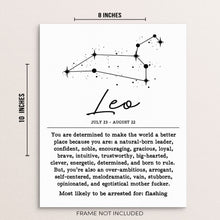 "LEO Zodiac Constellation Wall Decor Art Print Poster - 8""x10"" UNFRAMED"