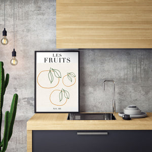 "Sincerely, Not One Line Botanical Art Print Les Fruits Abstract Flowers Poster 11""x14"" UNFRAMED"