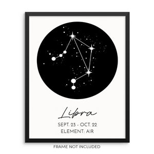 LIBRA Constellation Art Print Astrological Zodiac Sign Wall Poster
