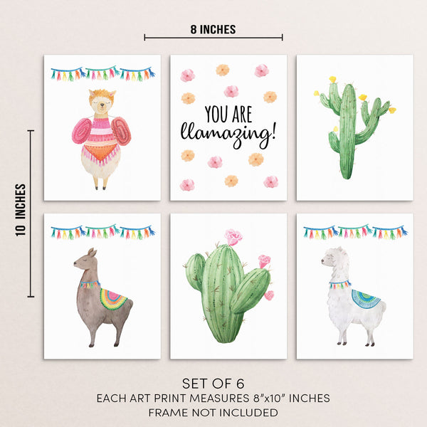 Kids Colorful Llamas and Inspirational Quote Art Print Set