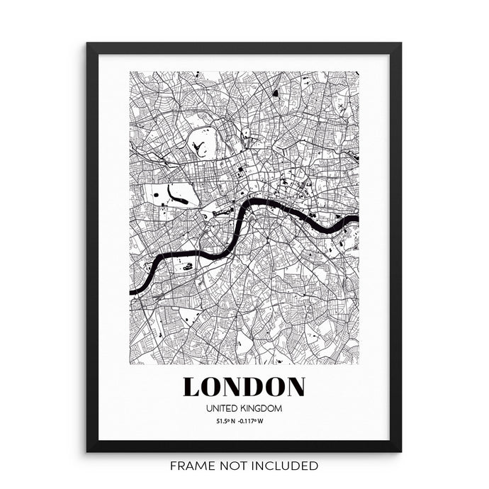 London City Grid Map Art Print England Cityscape Road Map Wall Poster