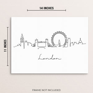 Abstract One Line Drawing London Skyline Wall Decor Art Print