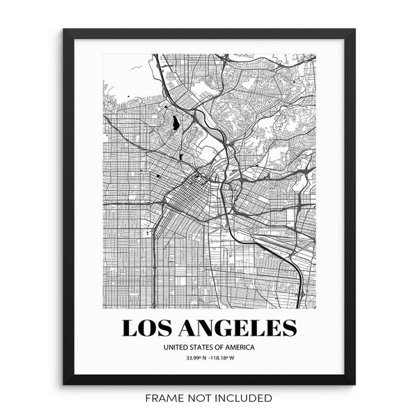 Los Angeles City Grid Map Art Print Cityscape Road Map Wall Poster