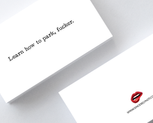 Learn How To Park Fucker Sarcastic Honest Mini Greeting Cards by Sincerely, Not