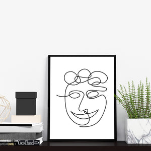 Man Face Portrait Modern One Line Abstract Black and White Wall Decor Art Print Poster by Sincerely, Not
