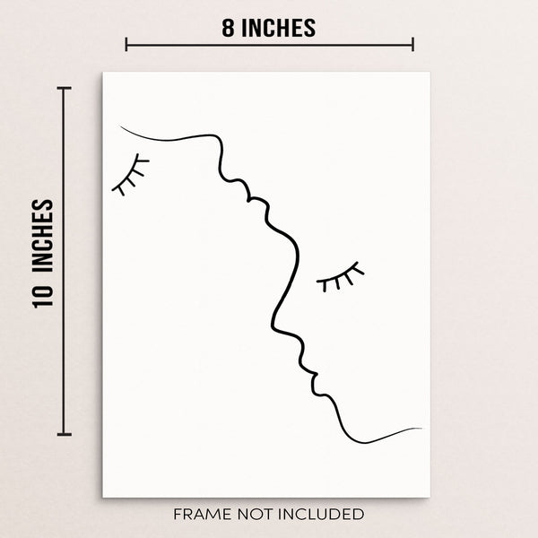 "Man Woman Faces Silhouette Wall Decor Line Art Print Poster 8"" x 10"" UNFRAMED"