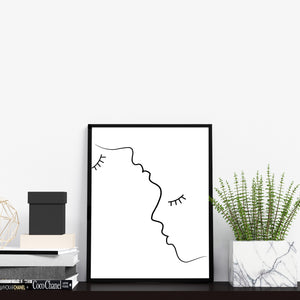 Abstract Line Drawing Faces Home Decor Wall Art Print