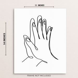 Abstract One Line Home Decor Art Print Poster Couple Touching Hands