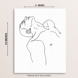 Minimalist Man's Body Line Drawing Art Print Abstract Wall Poster