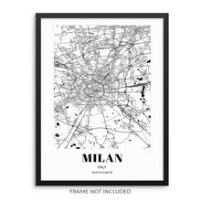 Milan City Grid Map Art Print Cityscape Road Map Wall Poster