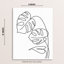 Abstract Monstera Leaves Minimalist One Line Wall Decor Line Art Print
