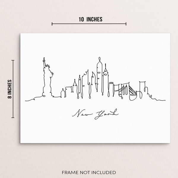 New York City Skyline Abstract One Line Wall Decor Art Print Poster