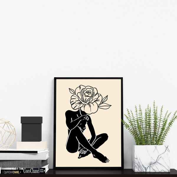 Abstract Woman's Body Shape with Flower Wall Decor Art Print