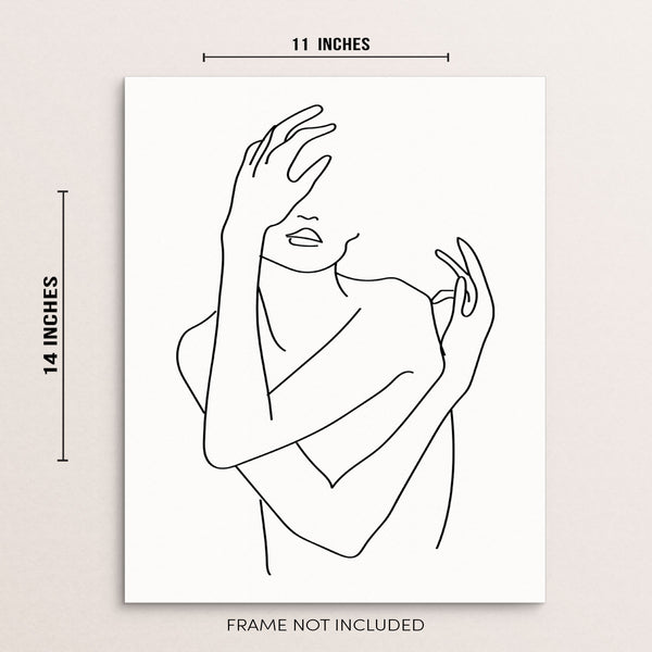 Modern Black and White Abstract Nude Woman Body Shape Wall Decor One Line Art Print Poster by Sincerely, Not