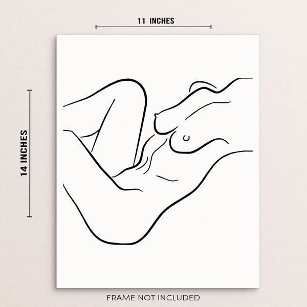 Nude Woman Lying Down Abstract One Line Wall Art Print