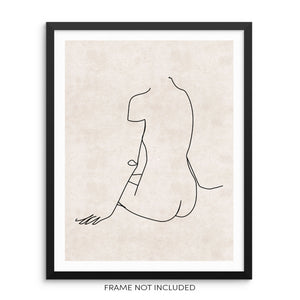 Minimalist One Line Art Print Woman's Nude Body Shape Poster by Sincerely, Not