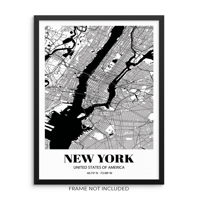 New York City Grid Map Art Print NYC Cityscape Road Map Wall Poster
