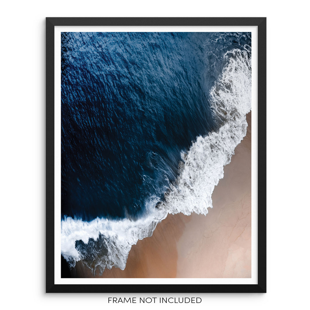 Blue Ocean Waves Sandy Beach Minimalist Art Print Seacoast Wall Poster