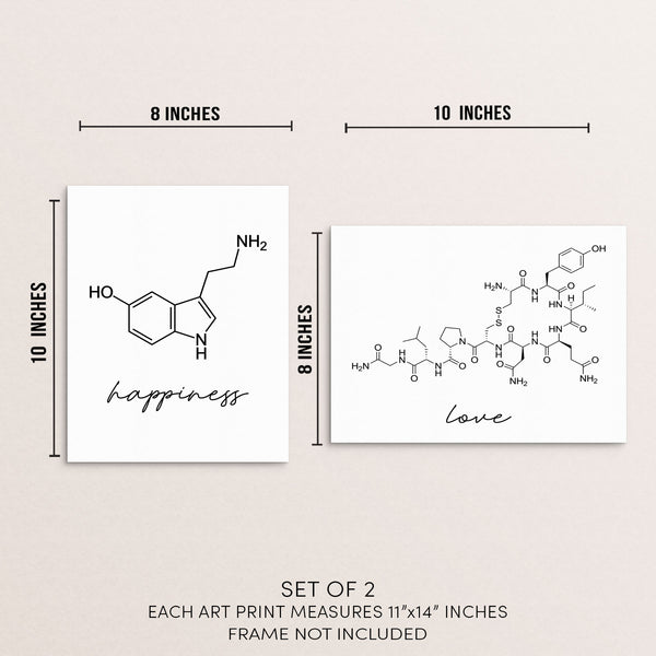 Molecular Love Happiness Home Decor Wall Art Print Poster Set of 2