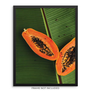 Papaya and Tropical Palm Leaf Trendy Wall Art Print Poster