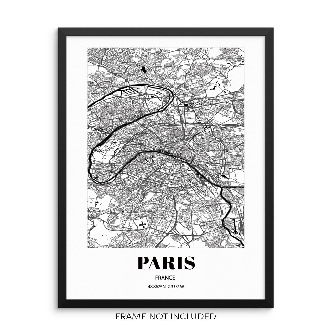 Paris City Grid Map Art Print Cityscape Road Map Wall Poster by Sincerely, Not