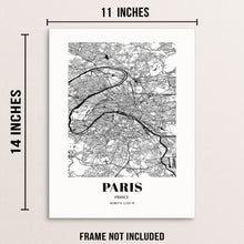 Paris City Grid Map Art Print Cityscape Road Map Wall Poster
