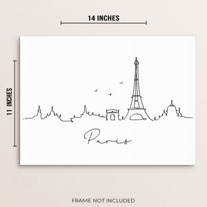 Paris Skyline Abstract One Line Drawing Wall Decor Art Print