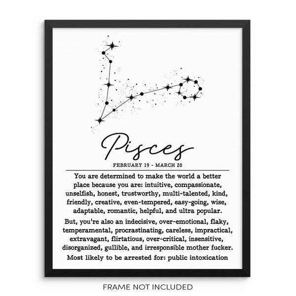 PISCES Funny Zodiac Constellation Wall Art Print Poster