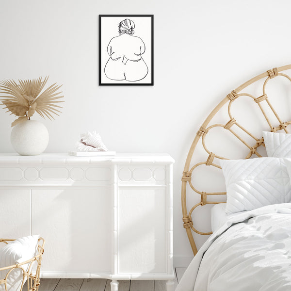 Nude Woman One Line Drawing Minimalist Art Print Poster