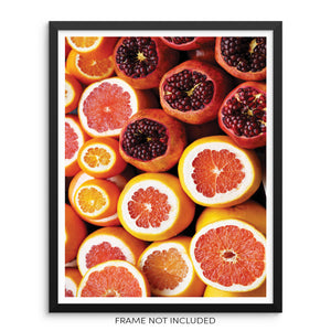 Pomegranate Grapefruit Oranges Kitchen Decor Wall Art Print