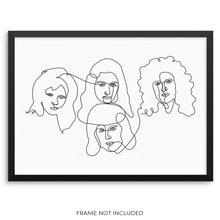 Queen Classic Rock Band Poster Abstract One Line Drawing Art Print