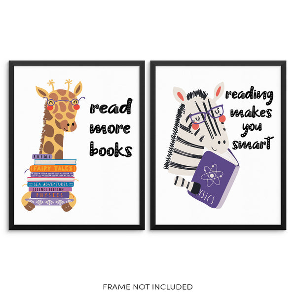 Kids Bedroom Inspirational Art Print Set Reading Makes You Smart and Read More Books