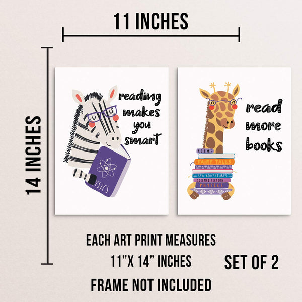 Kids Bedroom Inspirational Art Print Set Reading Makes You Smart