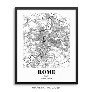 Rome City Grid Map Art Print Italy Cityscape Road Map Wall Poster