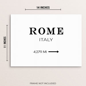 Rome Italy Art Print Sign Minimalist Travel Wall Poster
